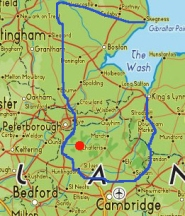 Map of the Fens or Fenland, Eastern England