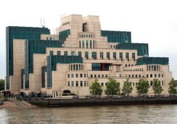 MI6 Headquarters, Vauxhall Bridge, London, with its C-green and cream cladding