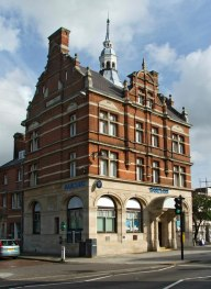 Barclays Bank, Enfield, north London, first cash machine in the world