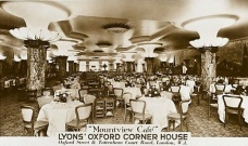 j lyons, corner house, restaurant, oxford street, tottenham court road, london