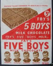 fry's five boys, chocolate, wrapper