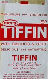 j s fry & sons, fry's, tiffin, chocolate bar, india, packed lunch