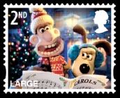 wallace & gromit, christmas stamp