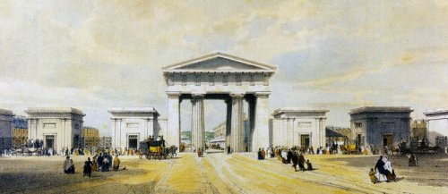 euston arch, london, painting, john cooke bourne, augustus pugin
