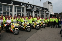 blood bikers, nhs, london, ace cafe, north circular road
