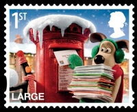 wallace and gromit, postage stamp, post box, christmas