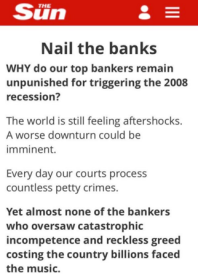 Sun newspaper, 2008 financial crash, bashing bankers, u-turn, david cameron, gordon brown, ed balls,
