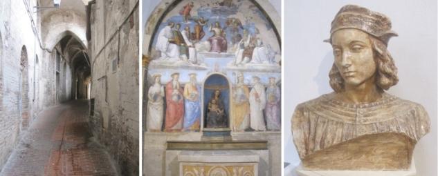perugia, umbria, via volte della pace, san severo, renaissance, raphael sanzio, pietro perugino, fresco of the trinity and the saints, giuseppe frenguelli