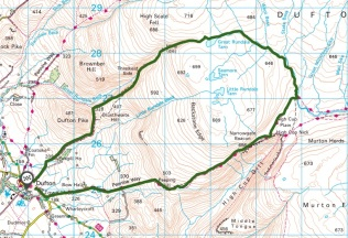 great rundale tarn & high cup nick walk map